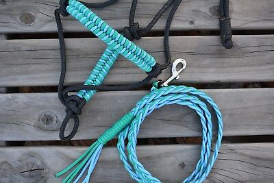 Rope halter and lead set, black, turquoise, baby blue, handmade, CHOICE OF SIZE,
