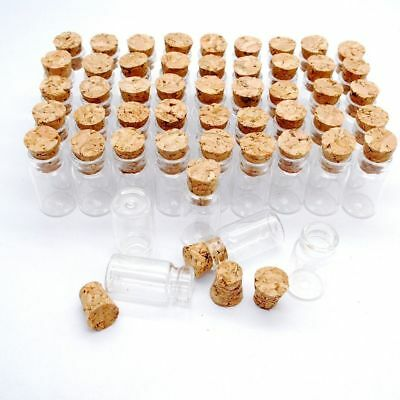 b203f27d6572 LOT OF 100 small glass vials with cork tops 2 ml tiny bottles Little empty  jars