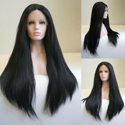 """AU 24"""" Party Lace Front Wig Synthetic Fiber Hair Long Straight Off Black"""