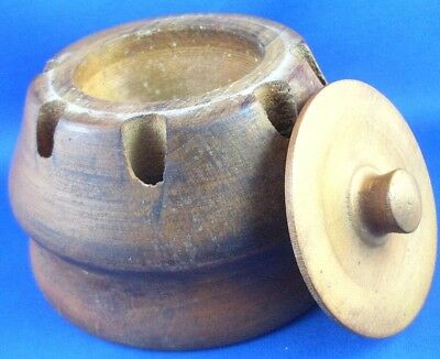 RARE Vintage Round Wooden Paperweight Inkwell/Paperclips Pens Holder Exec Desk