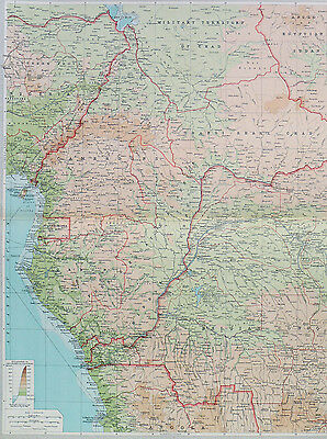 Map of Central Africa Large 1922 Original Antique
