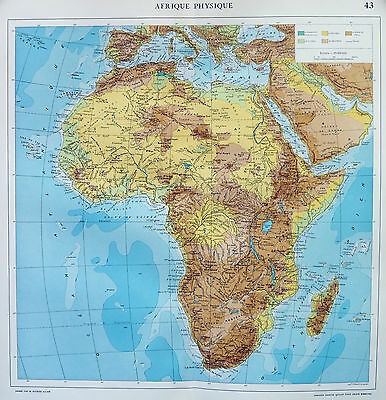 Map of Africa Afrique French Large 1925 Original Antique