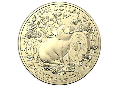 2019 Lunar Year of The Pig - FU (happiness) $1 Dollar UNC Coin Australia