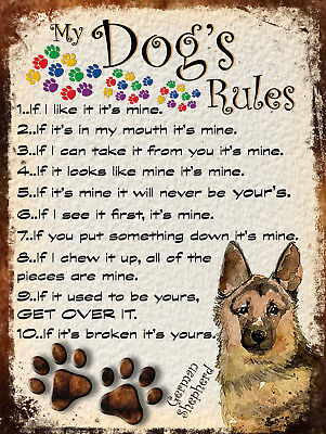 My Dog's Rules Retro Style Metal Tin Sign German Shepherd Theme (33Dr)
