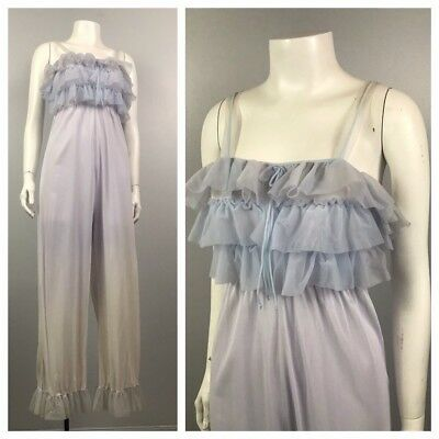 1960s Jumpsuit Lingerie / Sheer Sleeveless Jumpsuit One Piece Loungewear / Small