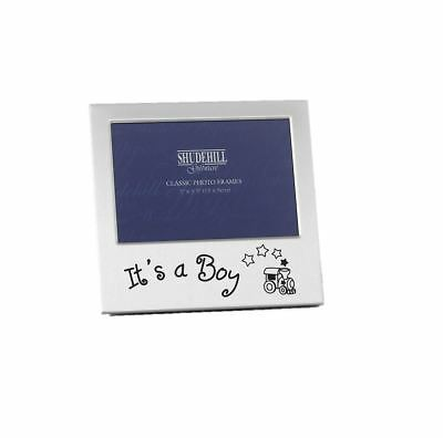 It's A Boy Newborn Baby Picture Photo Frame Silver Gift Baby Shower Occasion