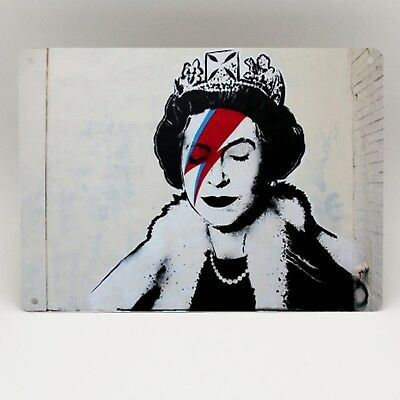 DAVID BOWIE Metal Sign BANKSY QUEEN ELIZABETH ZIGGY GRAFFITI STENCIL WALL ART