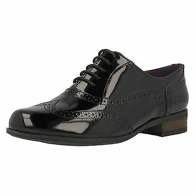 CLARKS HAMBLE OAK Black Patent Leather Brogue Style Lace Up