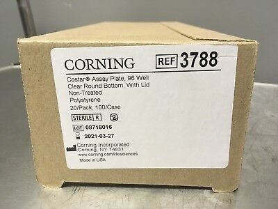 NEW Corning 3788 96-well Assay Plates Clear RB Sterile w/ Lids 20PK