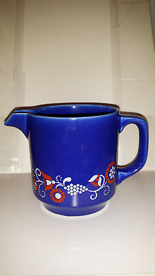 Staffel Stoneware Germany Cobalt Blue Floral Design Pitcher