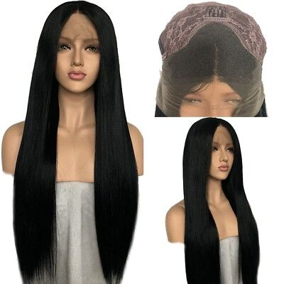 """AU 24"""" GlueLess Lace Front Wig Heat Resistant Hair Straight Women Cosplay Black"""