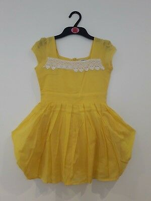 Ex M&S Autograph Girls Origami Party Dress Yellow 100% Cotton Sizes 6-13 years