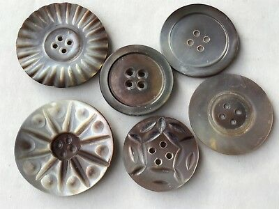 Lot Of Antique Mother Of Pearl Buttonsgray And Brown Colors 199