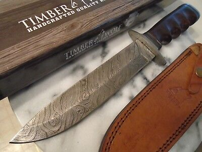 """Timer Wolf Damascus Finger Groove Combat Fighter Bowie Hunter Knife 560 12 3/4"""""""