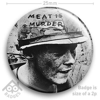 "The Smiths MEAT IS MURDER Morrissey Johnny Marr VEGETARIAN 25mm 1"" NEW BADGE"