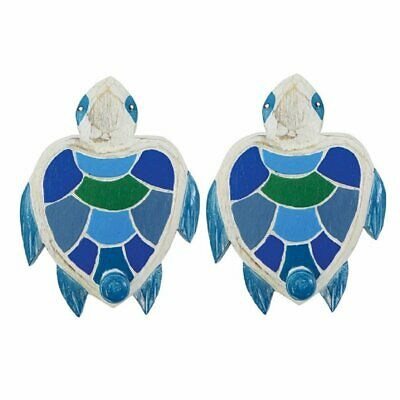 2 Wood Sea Turtle Wall Plaque Hooks 7.5 Inches x 5.5 Inches Each