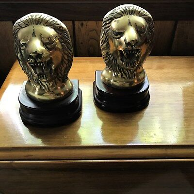 Heavy Lion Head Bookends Pair Cast Brass  Weighted 7 lbs! Korean 1991