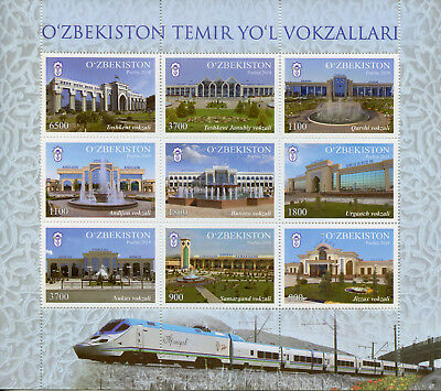 Uzbekistan 2018 MNH Railway Stations 9v M/S Trains Rail Architecture Stamps