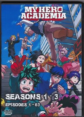 DVD My Hero Academia Complete Seasons 1-3 Episodes 1-63 English Dub and Japanese