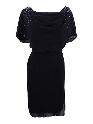 7fa56212d93a2 JESSICA HOWARD WOMENS Black Draped Beaded Cocktail Capelet Dress 12 ...