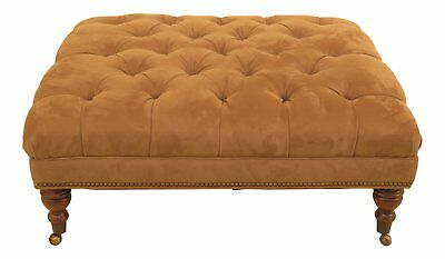 30529EC: Large Suede Leather Tufted Square Ottoman