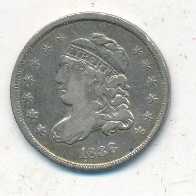 1836 Capped Bust Silver Half Dime-Lrg 5-Very Nice Circulated Half Dime-Free S/h!