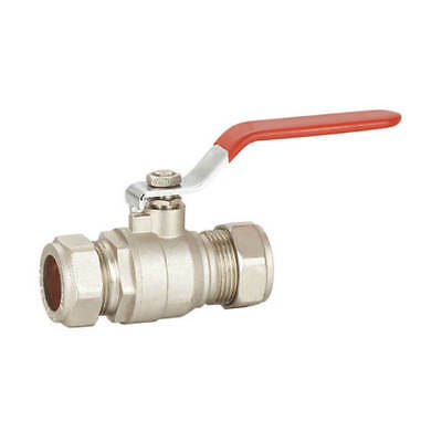 NEW Ball Valve - 28mm Compression Red Lever Handle UK SELLER, FREEPOST