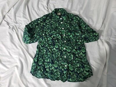 2f06eca6cc9 J.CREW Women s Printed Perfect Shirt Long Sleeve Blue Green Floral Top sz XS