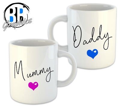 Set Of 2 Mugs Mummy And Daddy Mum Dad Coffee Mug Cup Present Gift New Parents