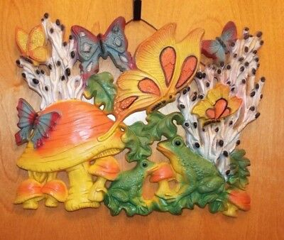 Vint.1960s Retro Groovy Homco Psychedelic Butterfly & Mushroom Plastic Wall Art
