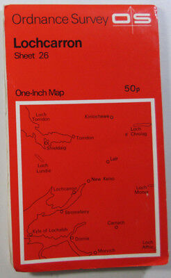 1972 old vintage OS Ordnance Survey Seventh Series one-inch Map 26 Lochcarron