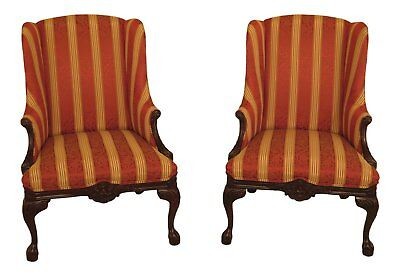 30599EC: Pair CALICO CORNERS Claw Foot Upholstered Wing Chairs