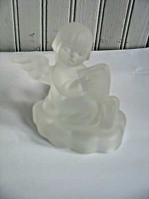 1995 Avon Goebel MJ Hummel Frosted XMAS Angel Candle Holder 24% Lead Crystal