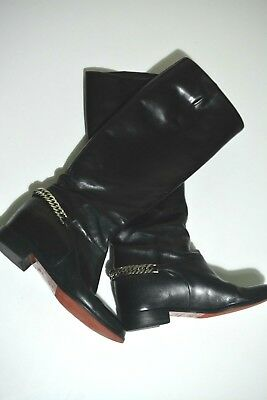 meet 28972 7d915 CHRISTIAN LOUBOUTIN CATE Chain-Trimmed Leather Riding Boots 38,5