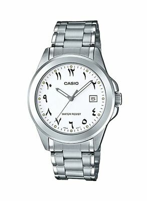 NEW 2019 CASIO MTP-1215A-7B3 Arabic Numbers, Stainless Steel, White Dial, WT50