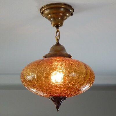 Mid Century Amber Crackle Globe Pendant Light with New Custom Fixture