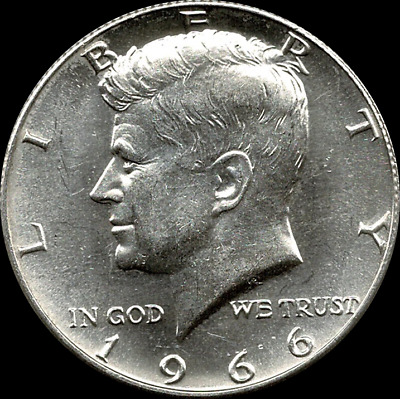 "A 1966 P Kennedy Half Dollar 40% SILVER US Mint ""Average Circulation"""