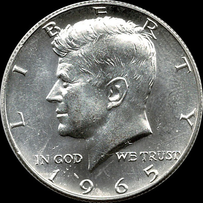 "A 1965 P Kennedy Half Dollar 40% SILVER US Mint ""Average Circulation"""
