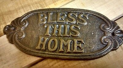 1 Cast Iron Oval BLESS THIS HOME Plaque for home decor