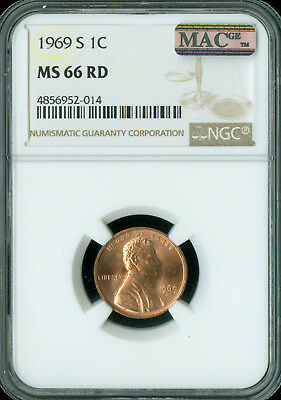 1969-S Lincoln Cent Ngc Mac Ms66 Red Pq 2Nd Finest Grade Spotless Rare ..