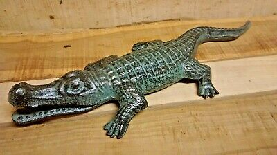 Cast Iron NAUTICAL FLORIDA GATOR cute statue for your Garden or Pool Side pond
