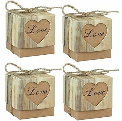 Cute Candy Box Craft Paper Boards Collection With Ropes Twine Gift Bags 50 Packs