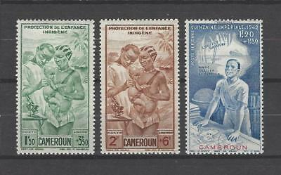 Cameroun 1942 Sc CB1-3  Native Children's Welfare & Colonial Education Fund  MLH