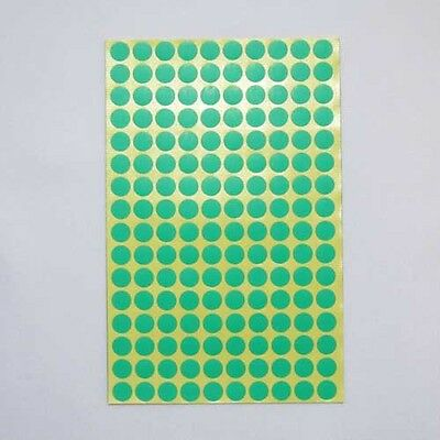 10 mm Round Circle Color Code Dot Stickers Sticky Adhesive Labels Green 15 Sheet