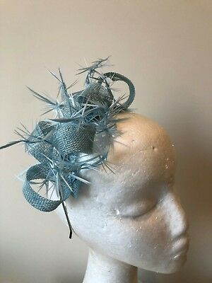 NEW light blue loop fascinator with biot feathers on a silver metal headband!