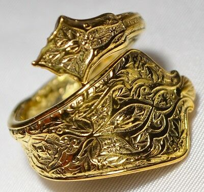 14k Gold Gilded Antique 1872 TIFFANY & Co PERSIAN STERLING Spoon Ring Size 7