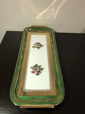 Vintage Limoges Serving Tray, Green And 22K Gilt Gold - Hand Painted, France