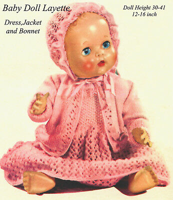 """Baby Doll Layette Knitting Pattern for Doll Height  30-41 cm / 12-16""""  3 Ply"""