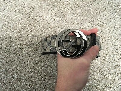 3e5391410 Gucci Mens Leather Belt GG Logo Size 36/90 Gucci Print / Navy Leather