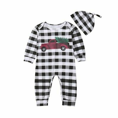 Baby Boy Car Romper Checked Jumpsuit Clothes Newborn Kids Infant Bodysuit Outfit